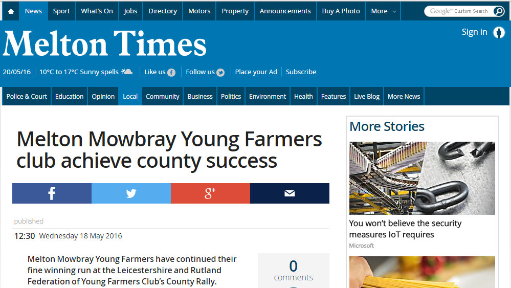 Melton Mowbray Young Farmers club achieve county success