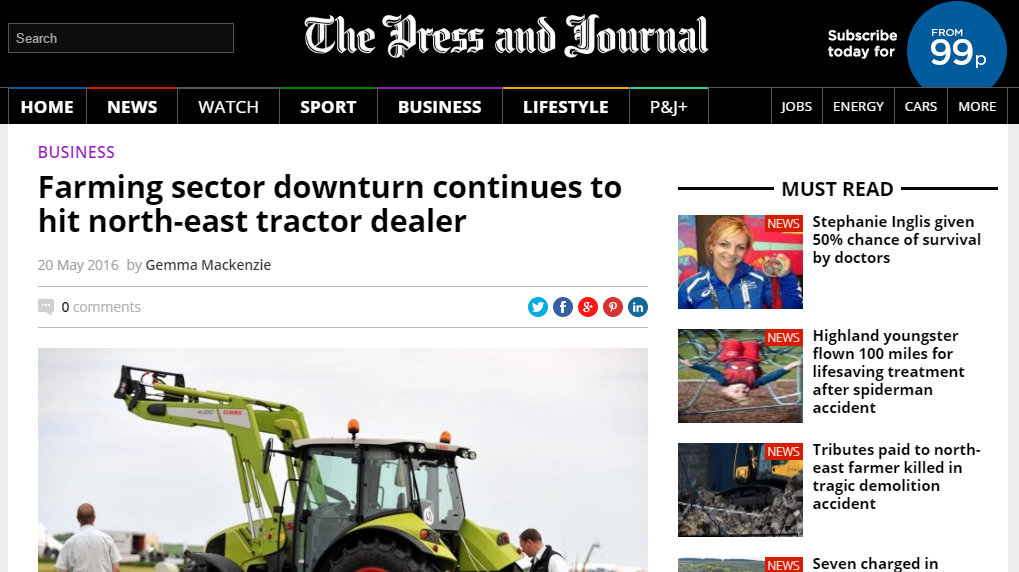 Farming sector downturn continues to hit north-east tractor dealer