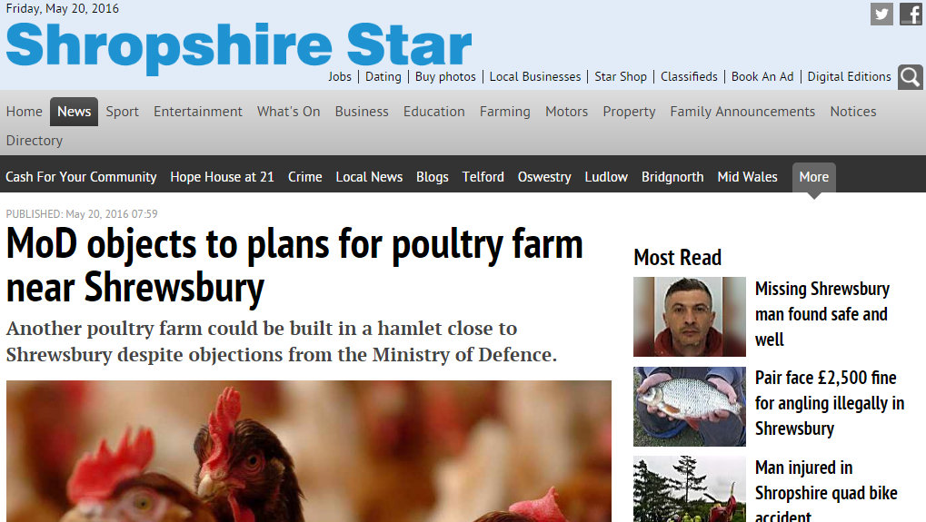 MoD objects to plans for poultry farm near Shrewsbury