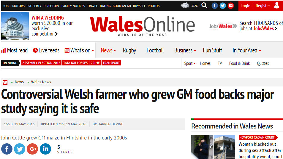 Controversial Welsh farmer who grew GM food backs major study saying it is safe