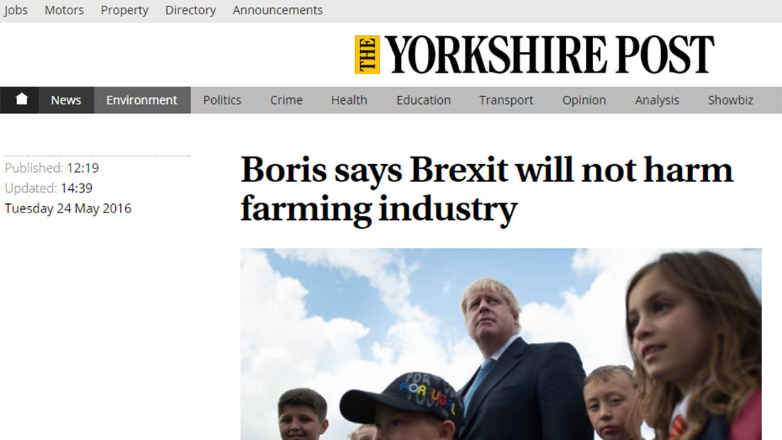 Boris says Brexit will not harm farming industry