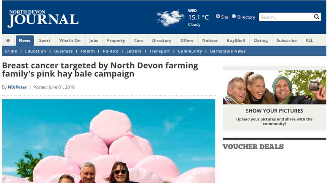 Breast cancer targeted by North Devon farming family's pink hay bale campaign