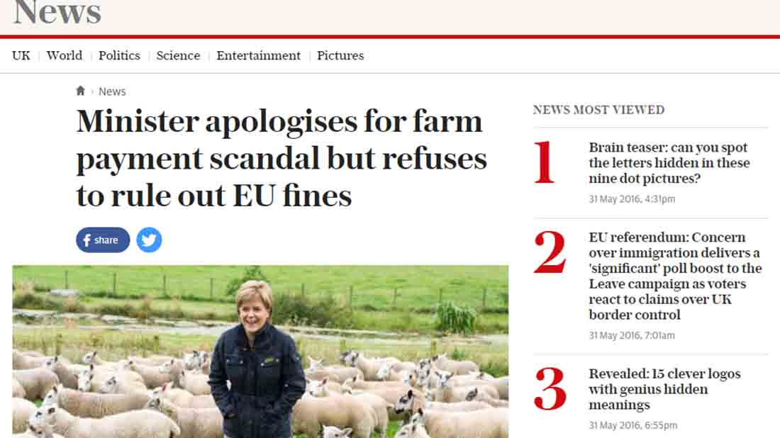 Minister apologises for farm payment scandal but refuses to rule out EU fines