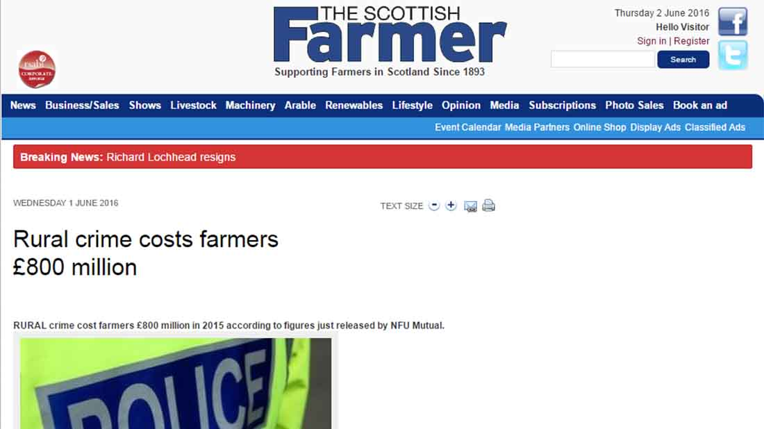 Rural crime costs farmers £800 million