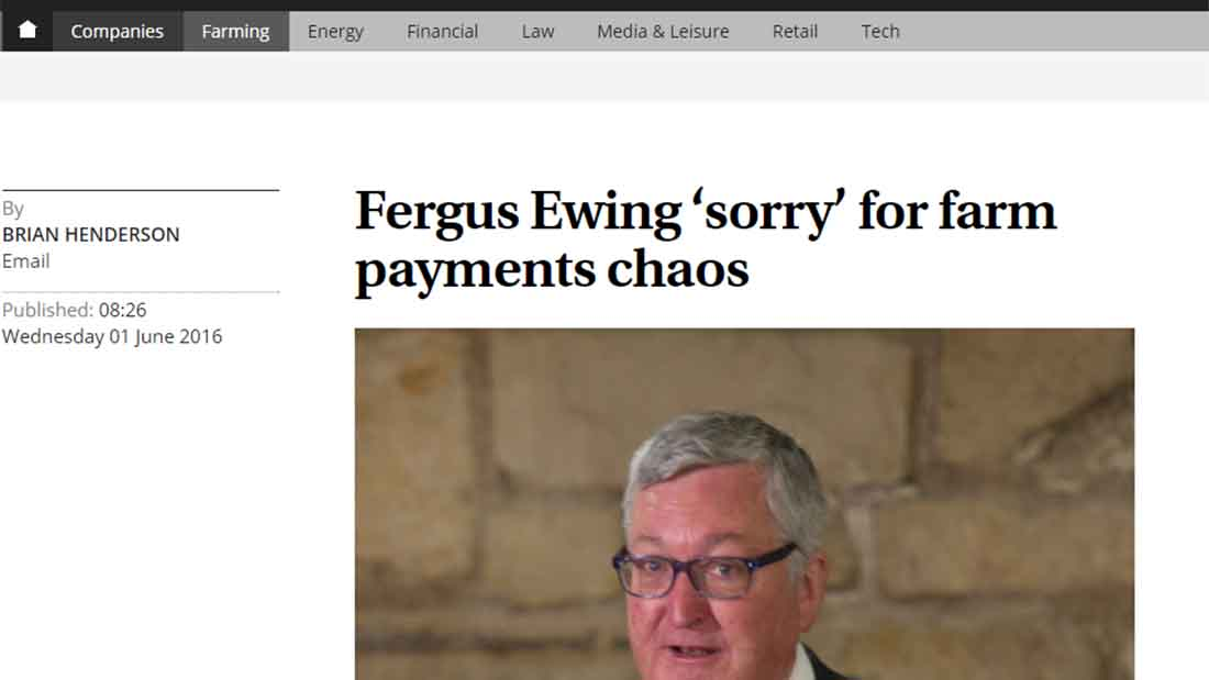 Fergus Ewing 'sorry' for farm payments chaos