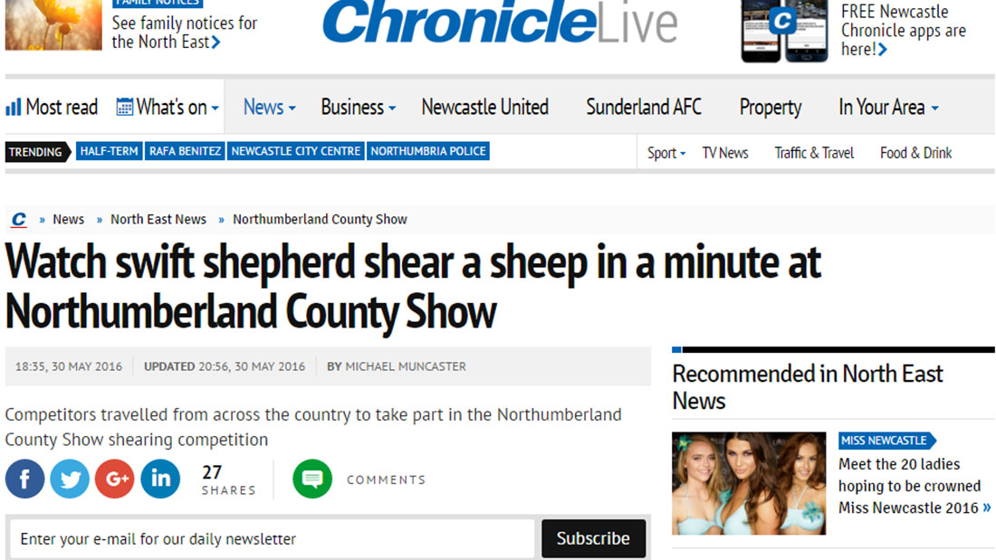 Watch swift shepherd shear a sheep in a minute at Northumberland County Show