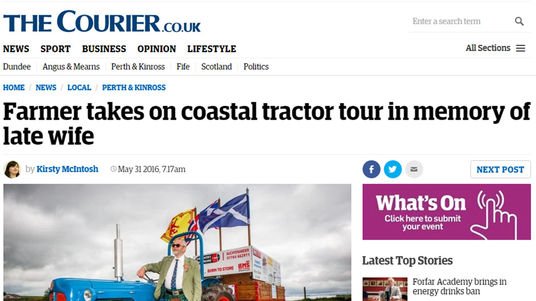 Farmer takes on coastal tractor tour in memory of late wife