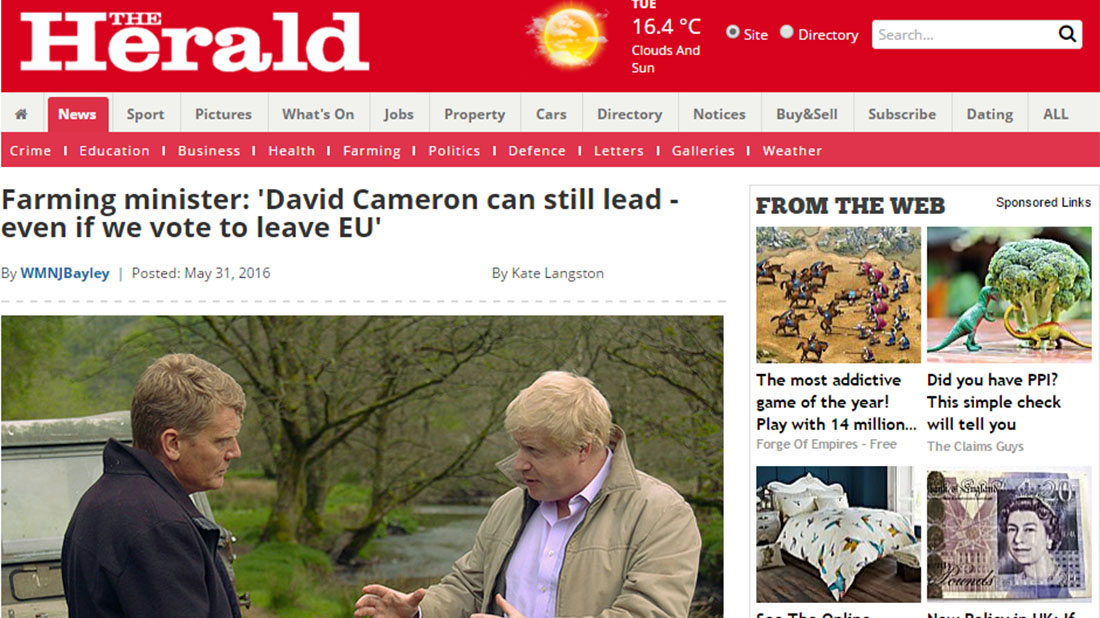 Farming minister: 'David Cameron can still lead - even if we vote to leave EU'