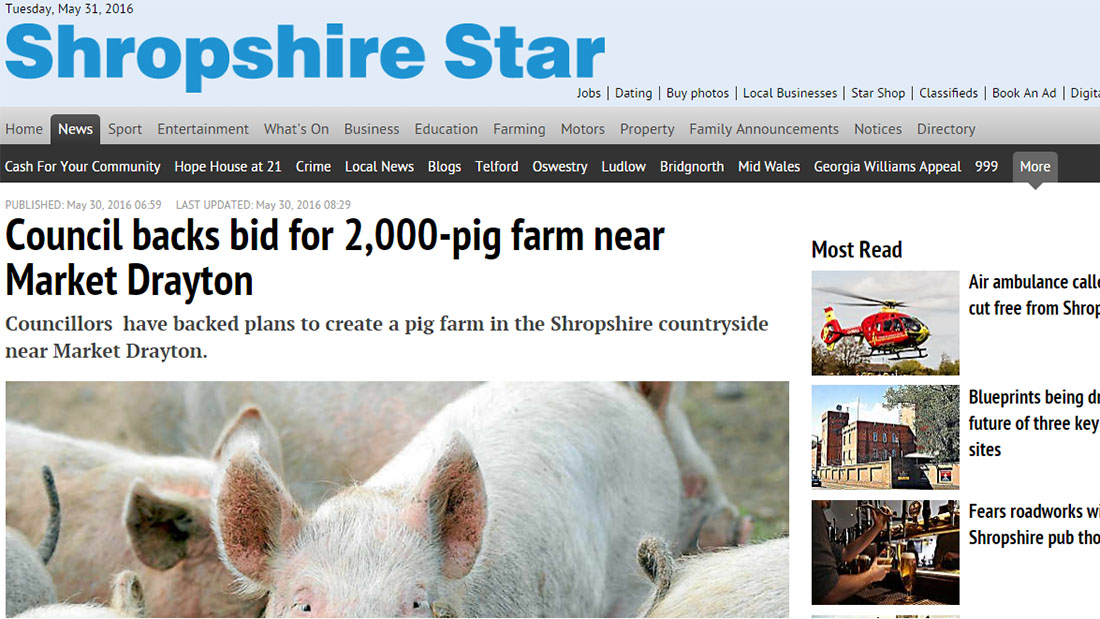 Council backs bid for 2,000-pig farm near Market Drayton