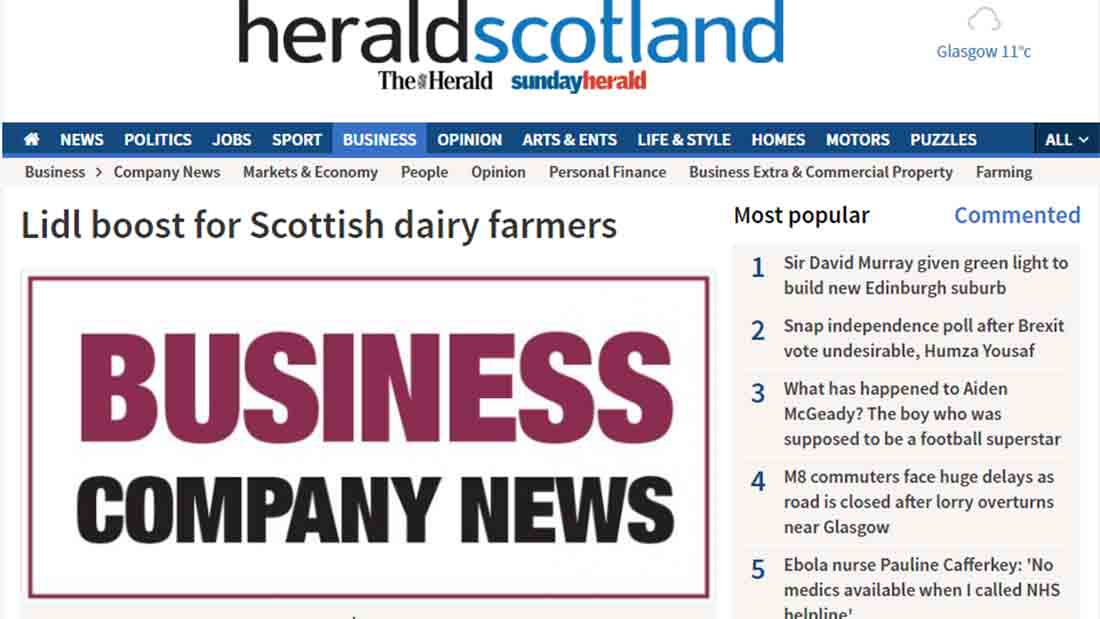 Lidl boost for Scottish dairy farmers