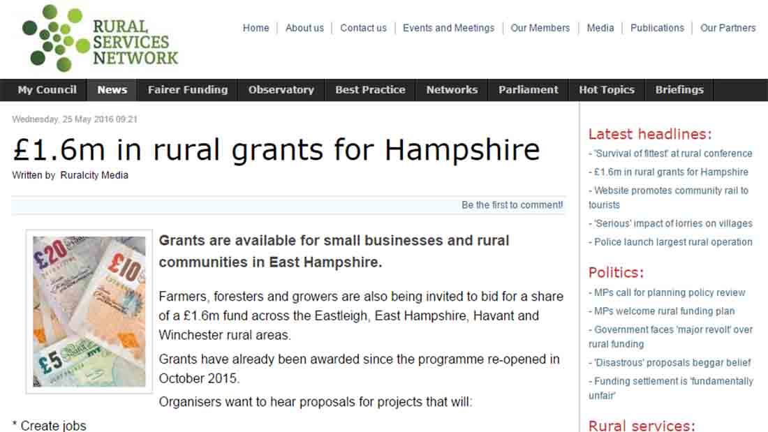 £1.6m in rural grants for Hampshire