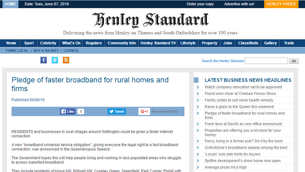 Pledge of faster broadband for rural homes and firms
