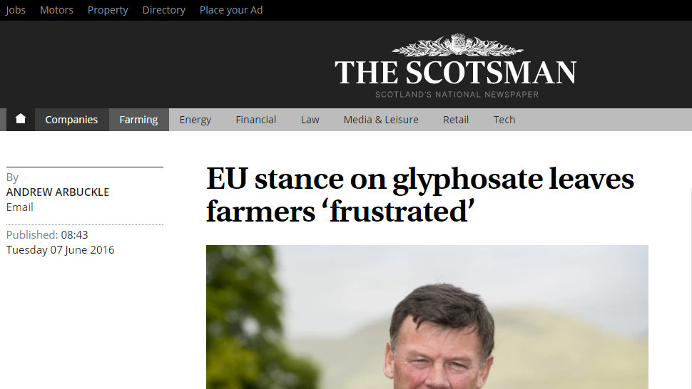 EU stance on glyphosate leaves farmers 'frustrated'
