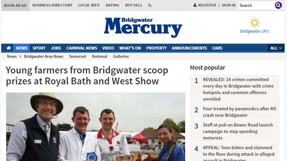 Young farmers from Bridgwater scoop prizes at Royal Bath and West Show
