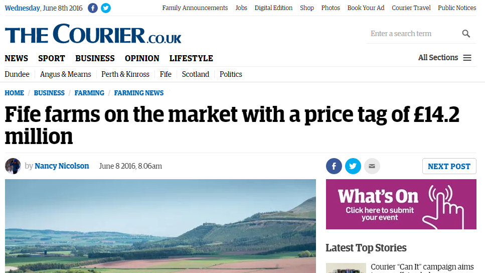 Fife farms on the market with a price tag of £14.2 million