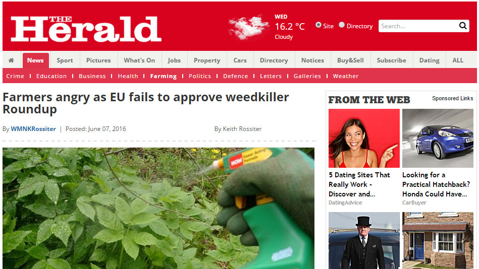 Farmers angry as EU fails to approve weedkiller Roundup