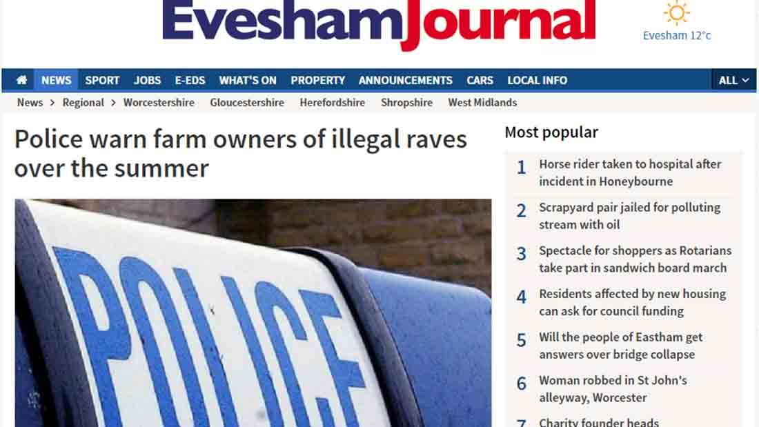Police warn farm owners of illegal raves over the summer