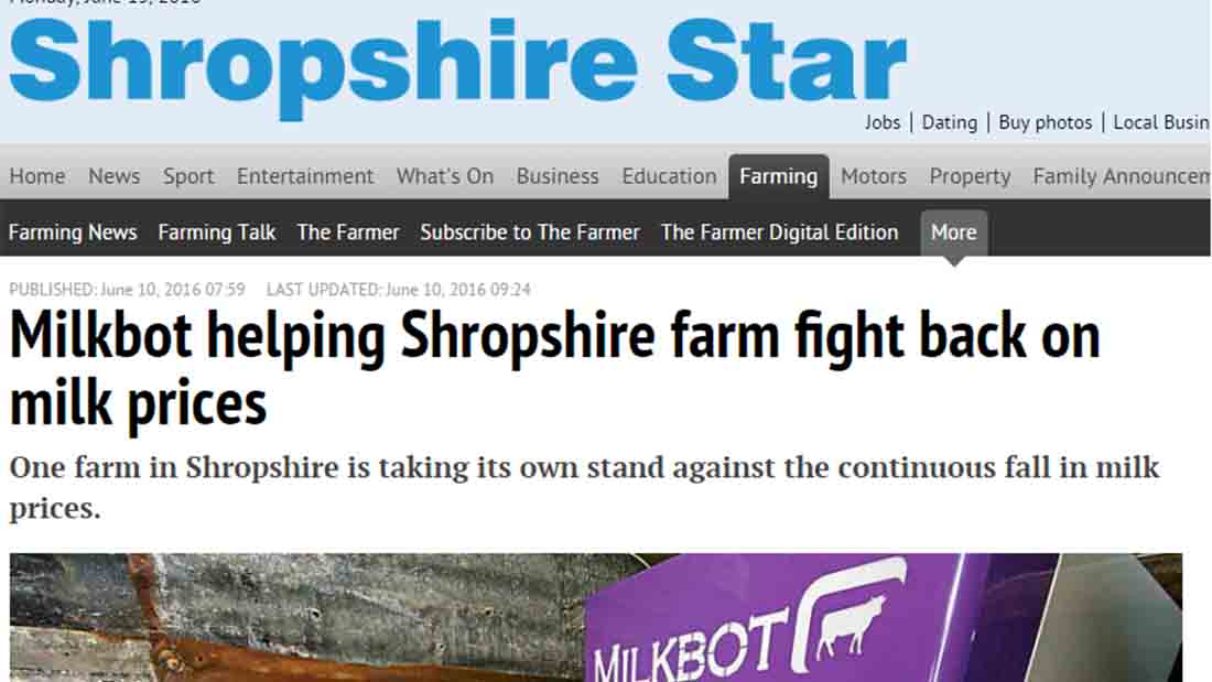 Milkbot helping Shropshire farm fight back on milk prices