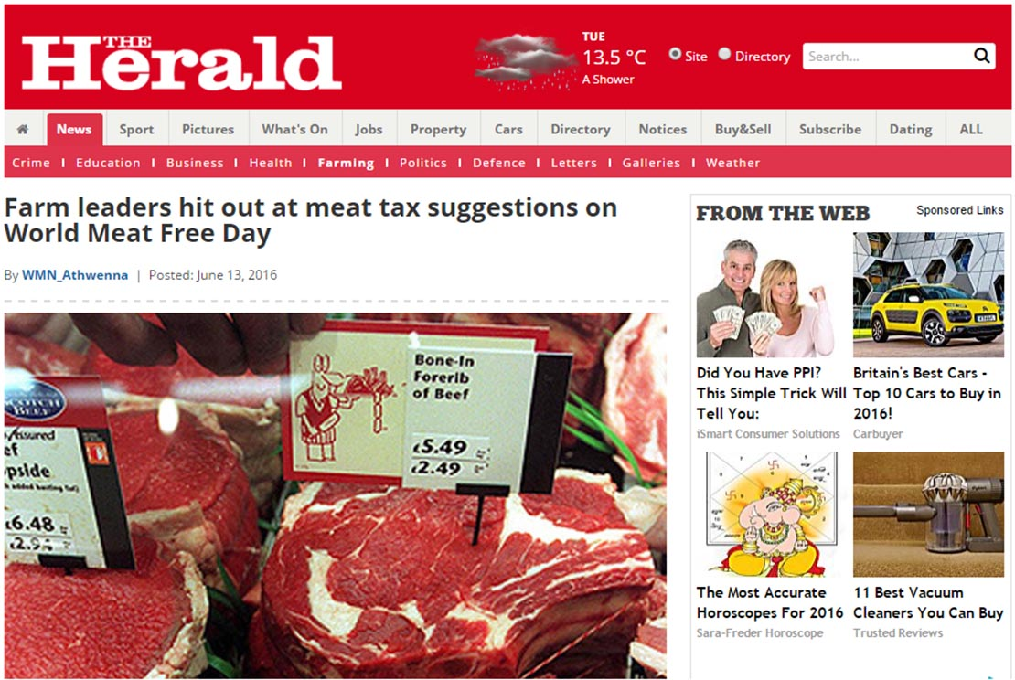 Farm leaders hit out at meat tax suggestions on World Meat Free Day