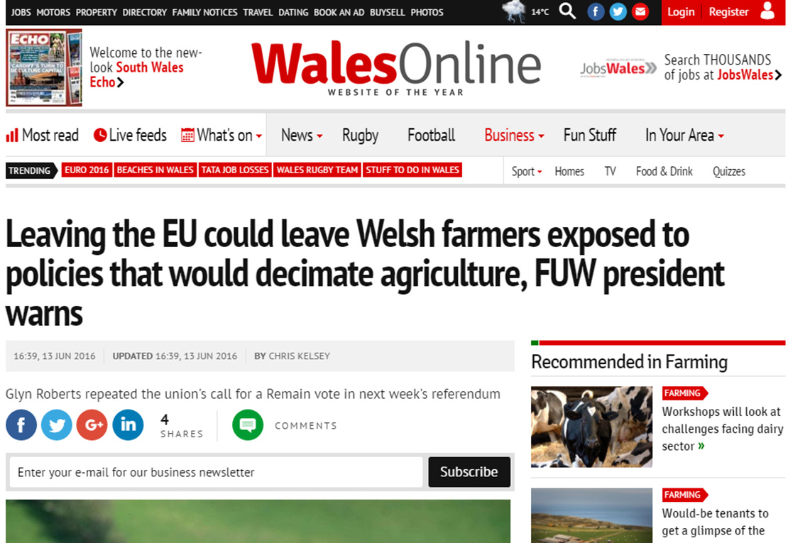 Leaving the EU could leave Welsh farmers exposed to policies that would decimate agriculture