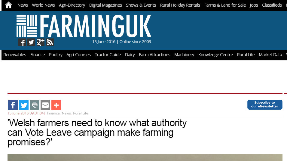 'Welsh farmers need to know what authority can Vote Leave campaign make farming promises?'