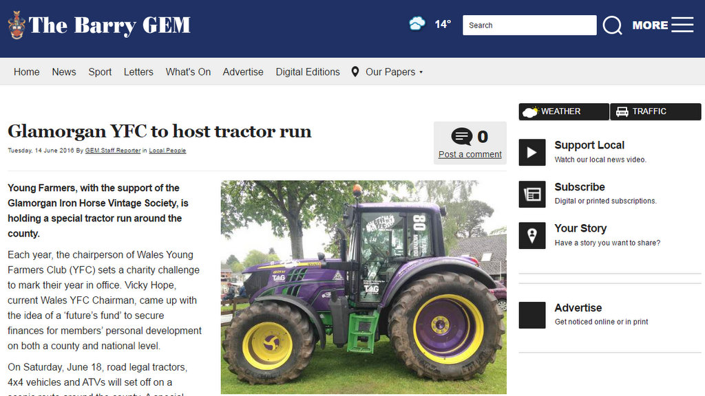 Glamorgan YFC to host tractor run