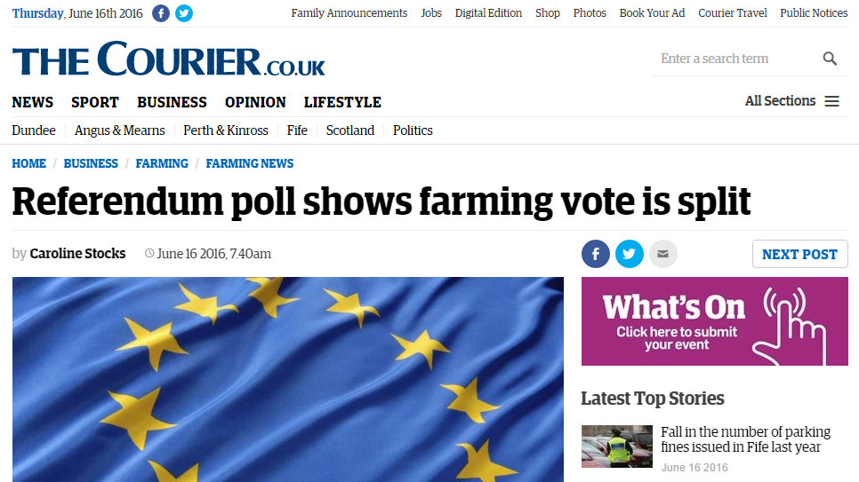 Referendum poll shows farming vote is split