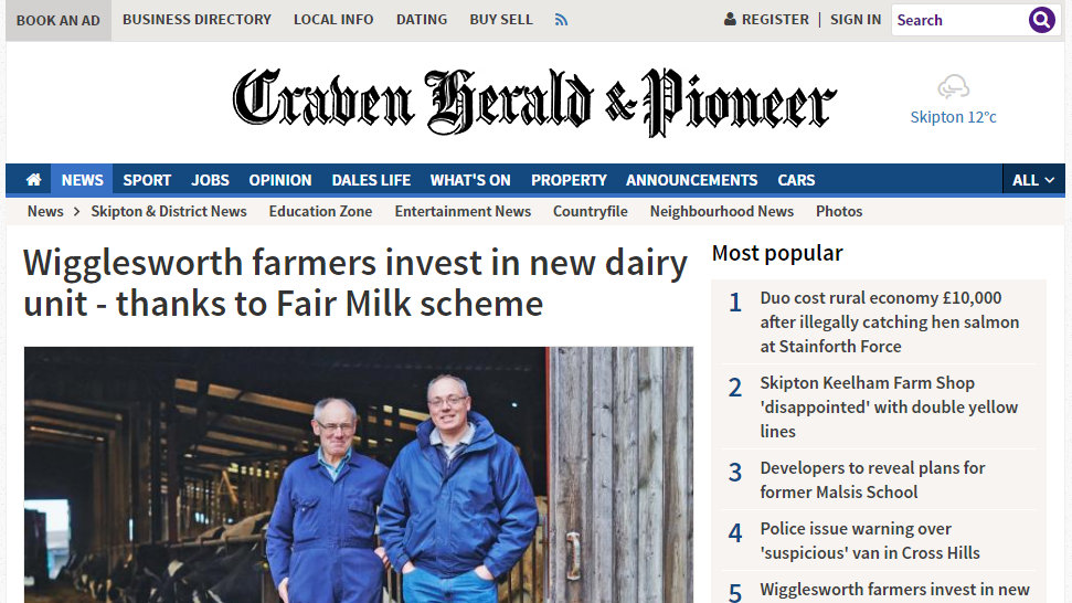 Wigglesworth farmers invest in new dairy unit - thanks to Fair Milk scheme