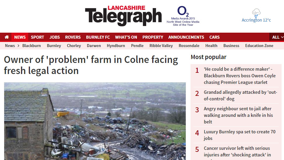 Owner of 'problem' farm in Colne facing fresh legal action