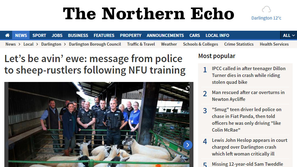 Let's be avin' ewe: message from police to sheep-rustlers following NFU training