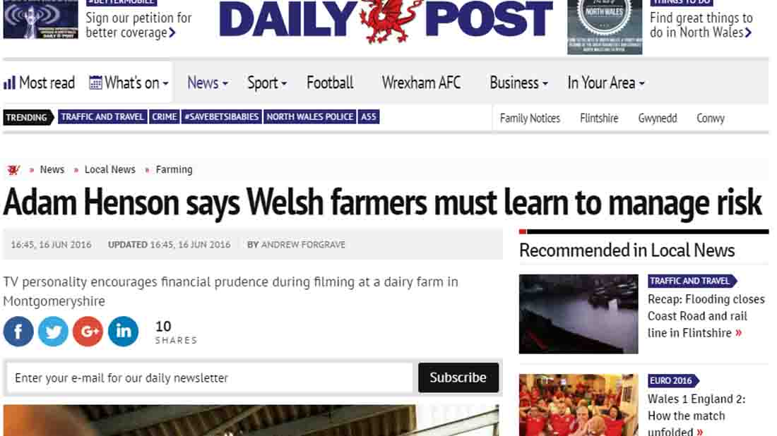 Adam Henson says Welsh farmers must learn to manage risk