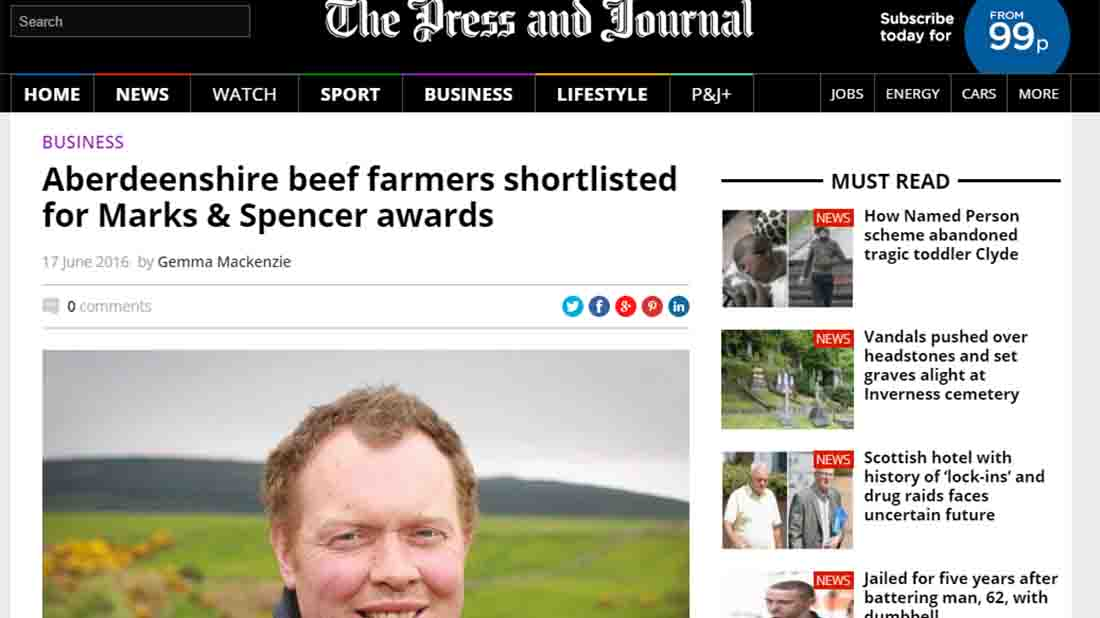 Aberdeenshire beef farmers shortlisted for Marks & Spencer awards