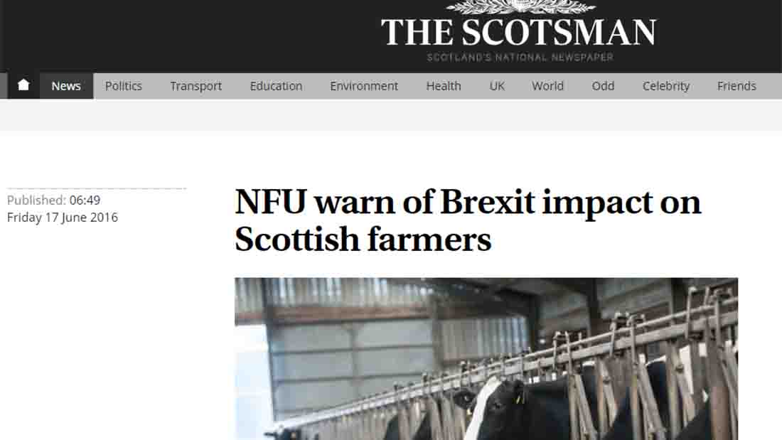 NFU warn of Brexit impact on Scottish farmers