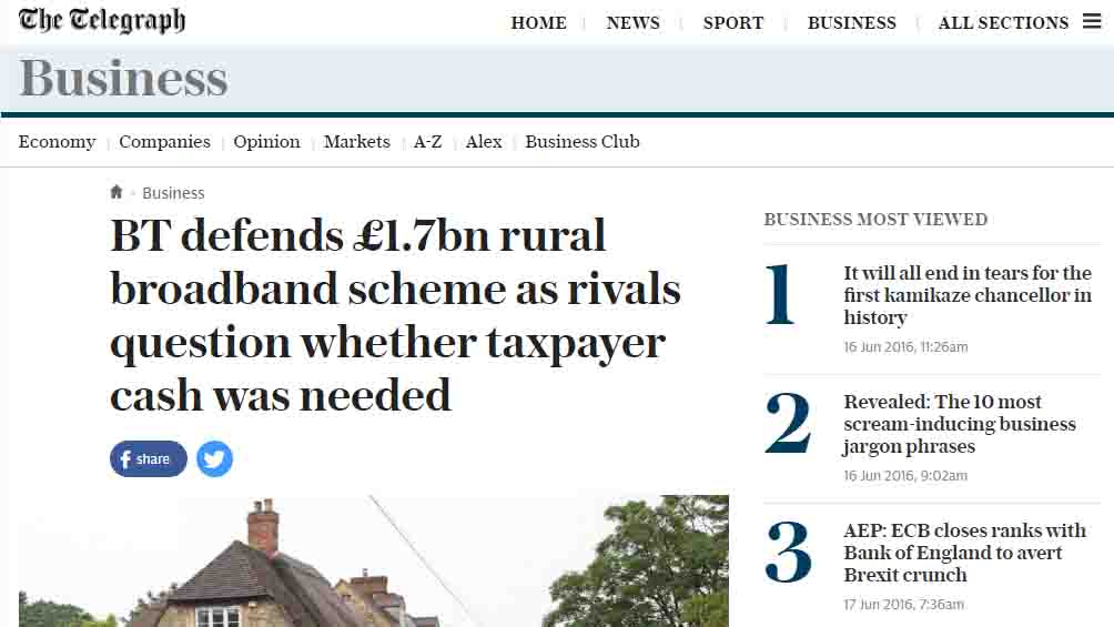 BT defends £1.7bn rural broadband scheme as rivals question whether taxpayer cash was needed