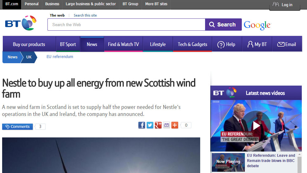 Nestle to buy up all energy from new Scottish wind farm
