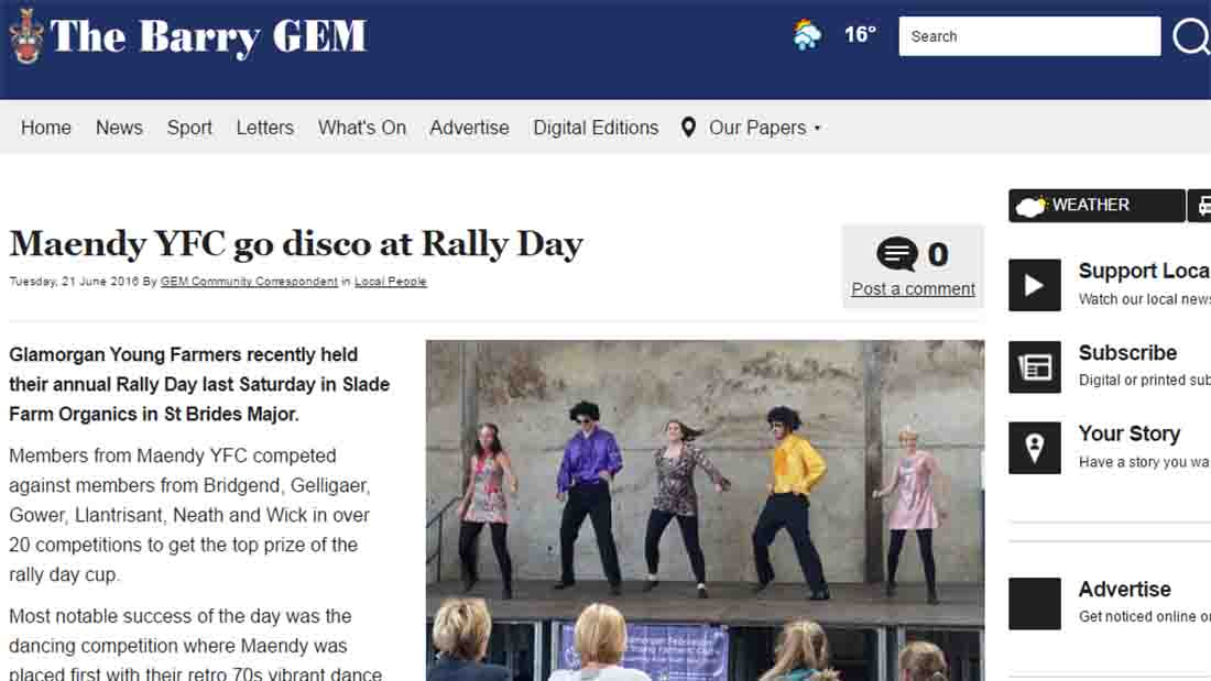 Maendy YFC go disco at Rally Day