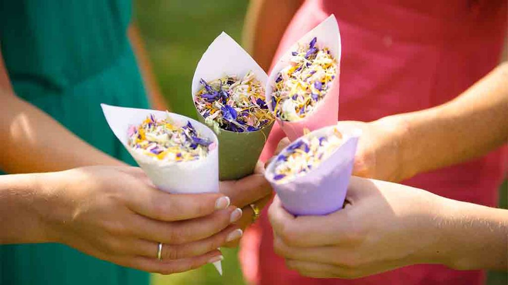 Confetti cones are also a popular choice