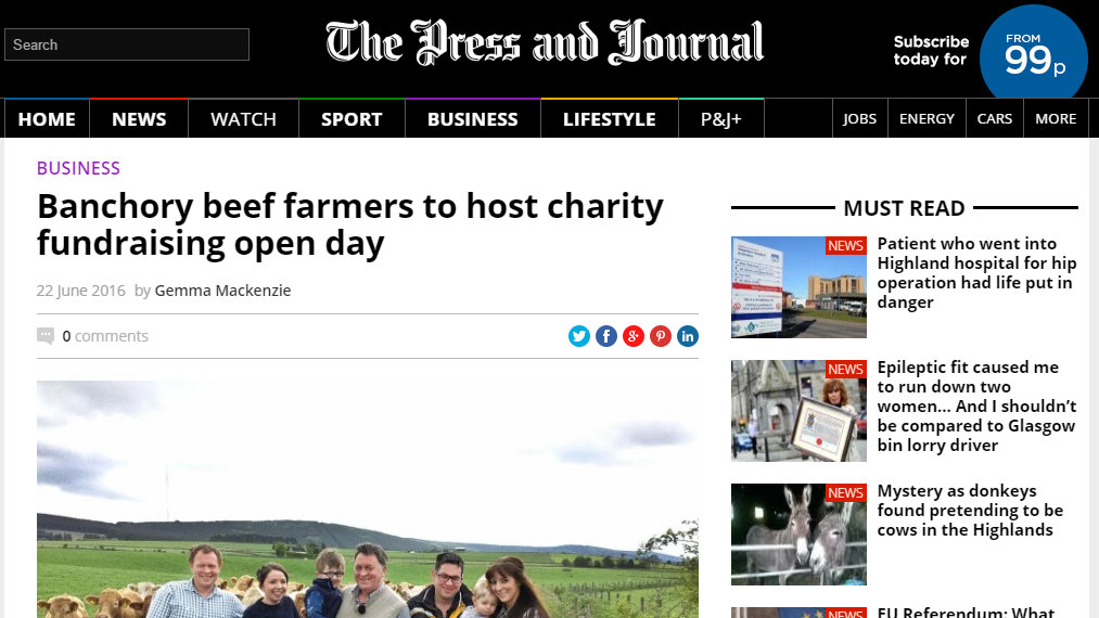 Banchory beef farmers to host charity fundraising open day