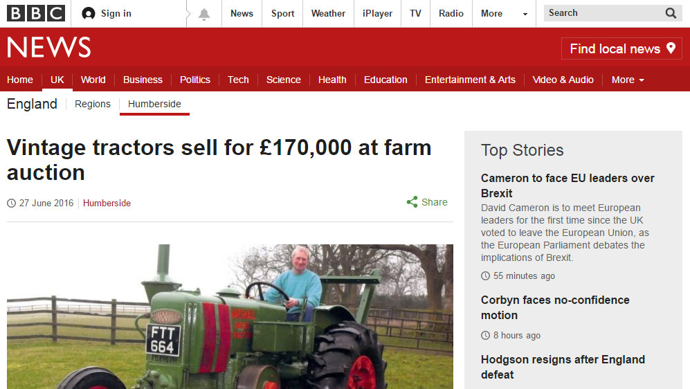 Vintage tractors sell for £170,000 at farm auction