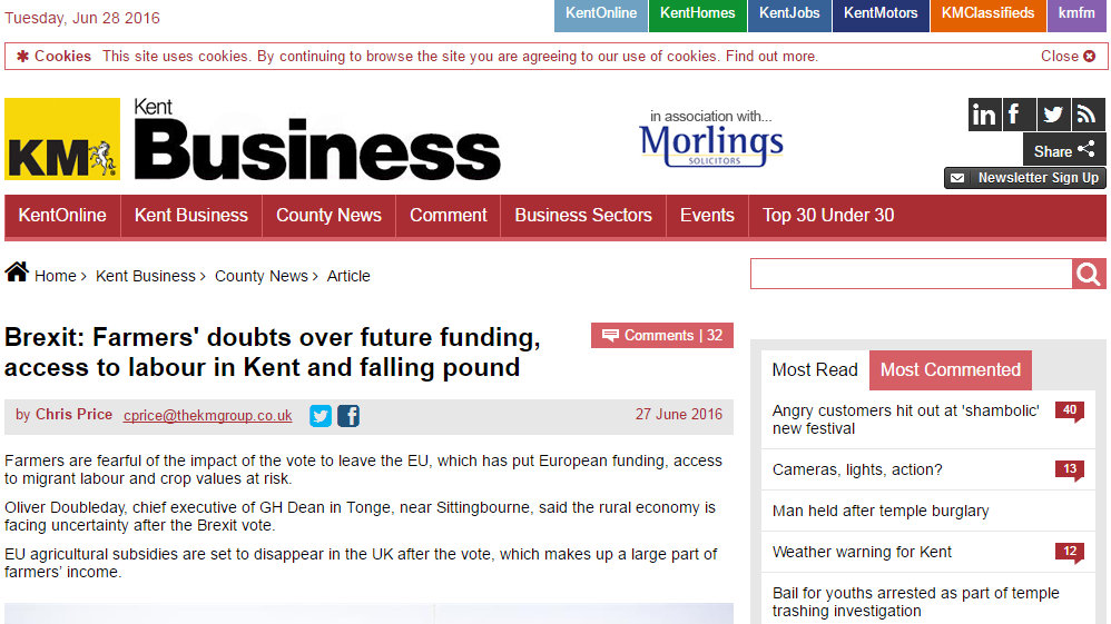 Brexit: Farmers' doubts over future funding, access to labour in Kent and falling pound