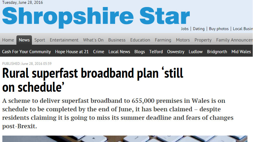 Rural superfast broadband plan 'still on schedule'