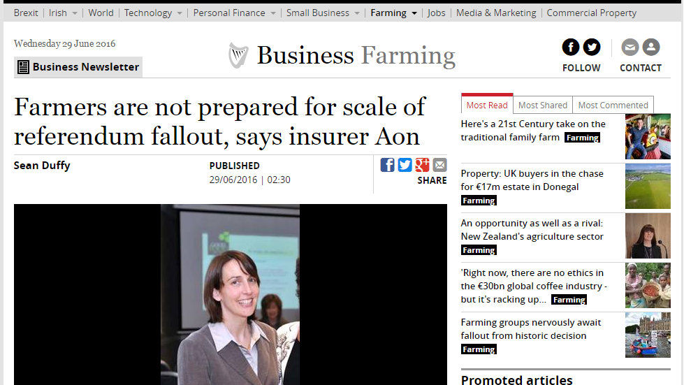 Farmers are not prepared for scale of referendum fallout, says insurer Aon