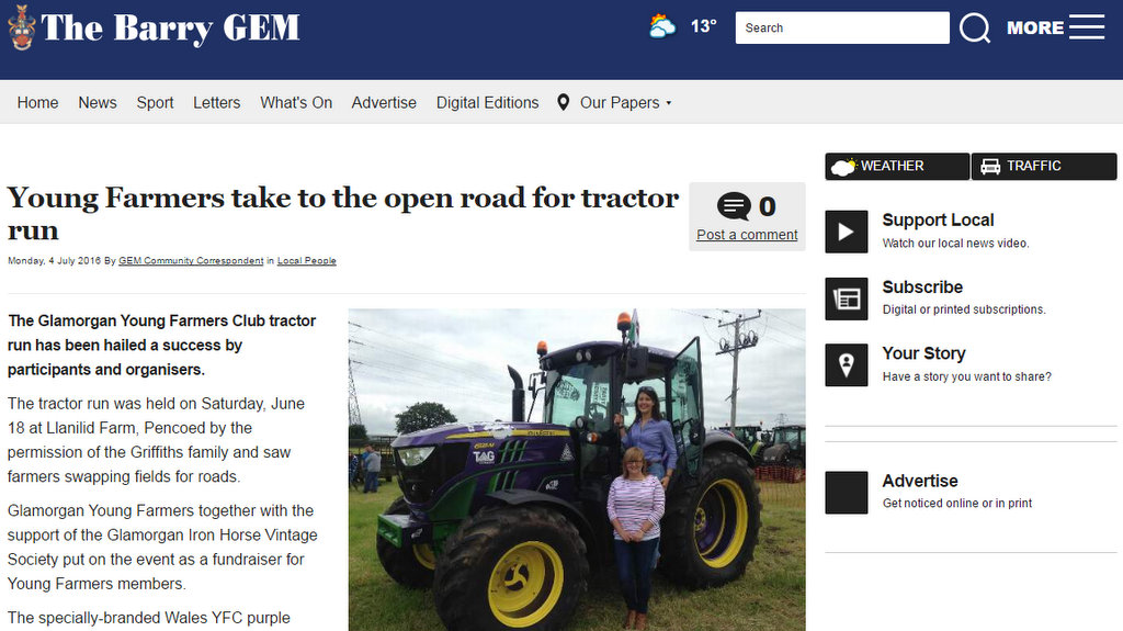 Young Farmers take to the open road for tractor run