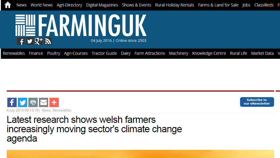 Latest research shows welsh farmers increasingly moving sector's climate change agenda