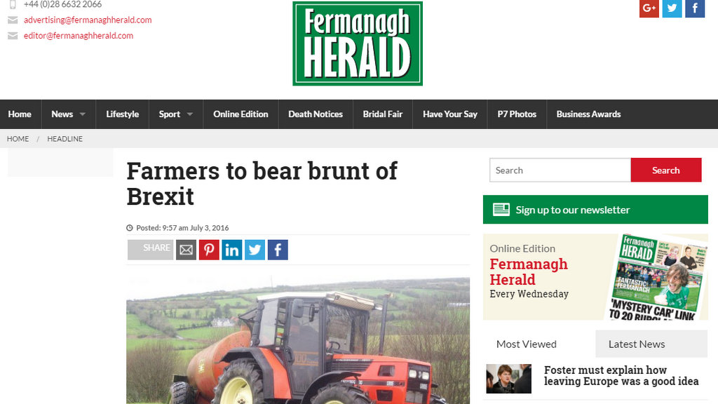 Farmers to bear brunt of Brexit