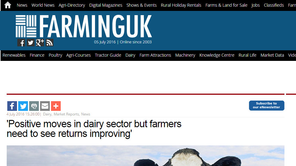 'Positive moves in dairy sector but farmers need to see returns improving'