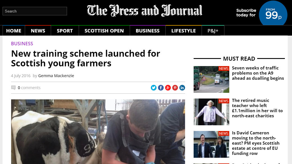 New training scheme launched for Scottish young farmers