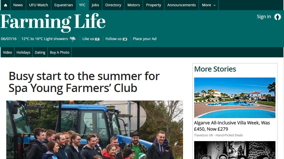 Busy start to the summer for Spa Young Farmers' Club
