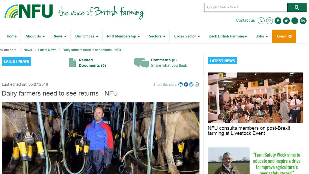 Dairy farmers need to see returns - NFU