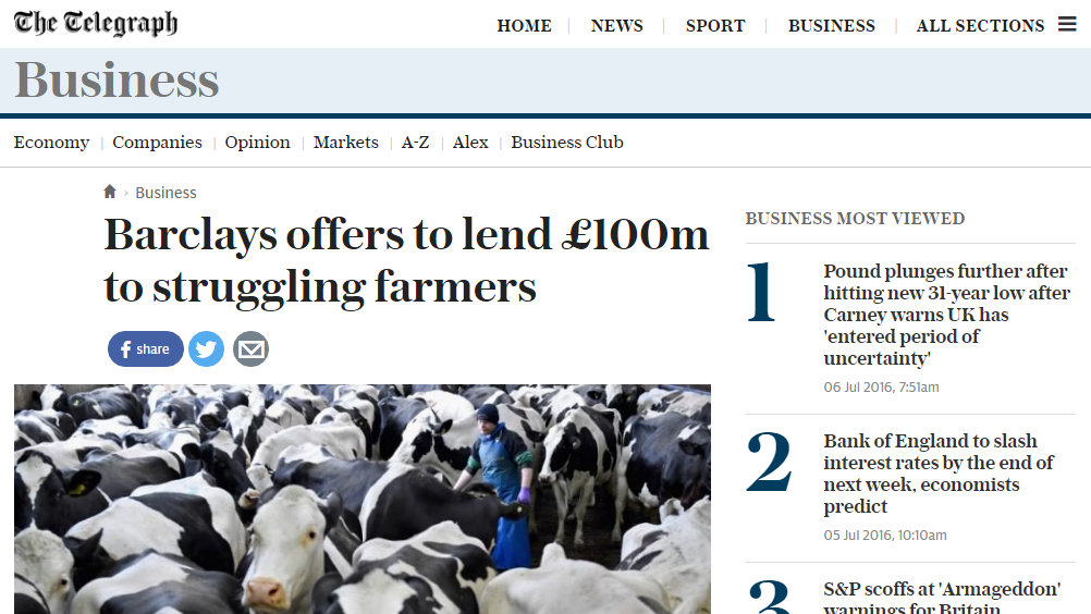 Barclays offers to lend £100m to struggling farmers